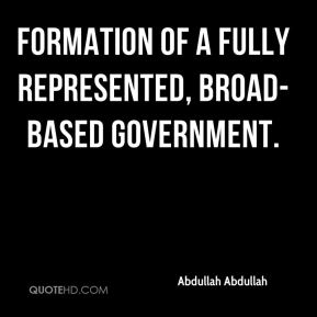 formation of a fully represented, broad-based government.