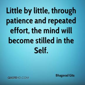 Bhagavad Gita - Little by little, through patience and repeated effort, the mind will become stilled in the Self.