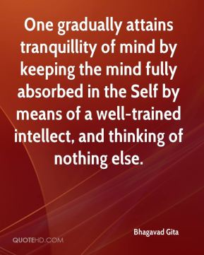 Bhagavad Gita - One gradually attains tranquillity of mind by keeping the mind fully absorbed in the Self by means of a well-trained intellect, and thinking of nothing else.