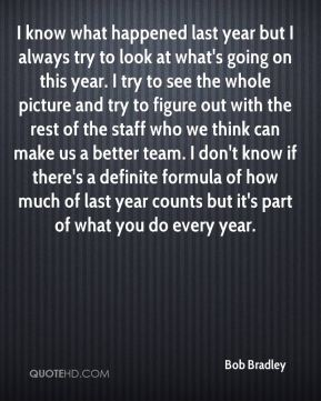 I know what happened last year but I always try to look at what's going on this year. I try to see the whole picture and try to figure out with the rest of the staff who we think can make us a better team. I don't know if there's a definite formula of how much of last year counts but it's part of what you do every year.