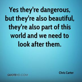 Yes they're dangerous, but they're also beautiful, they're also part of this world and we need to look after them.