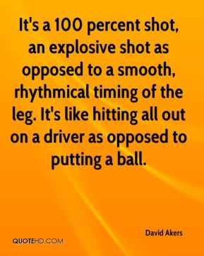 It's a 100 percent shot, an explosive shot as opposed to a smooth, rhythmical timing of the leg. It's like hitting all out on a driver as opposed to putting a ball.