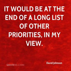 David Johnson - It would be at the end of a long list of other priorities, in my view.
