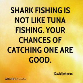 David Johnson - Shark fishing is not like tuna fishing. Your chances of catching one are good.