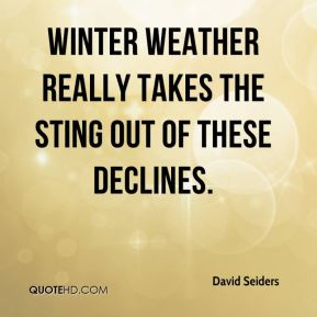 David Seiders - Winter weather really takes the sting out of these declines.
