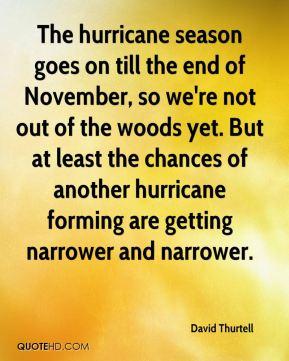 The hurricane season goes on till the end of November, so we're not out of the woods yet. But at least the chances of another hurricane forming are getting narrower and narrower.