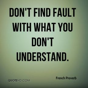 French Proverb - Don't find fault with what you don't understand.