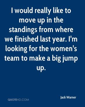 Jack Warner - I would really like to move up in the standings from where we finished last year. I'm looking for the women's team to make a big jump up.