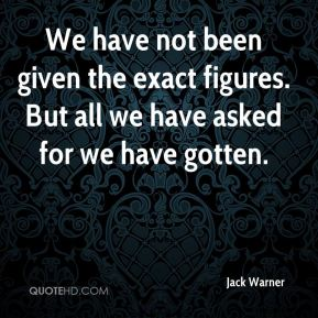 Jack Warner - We have not been given the exact figures. But all we have asked for we have gotten.