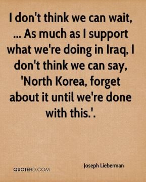 I don't think we can wait, ... As much as I support what we're doing in Iraq, I don't think we can say, 'North Korea, forget about it until we're done with this.'.