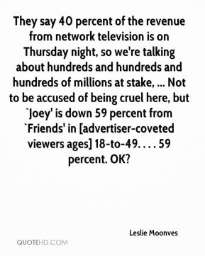 Leslie Moonves  - They say 40 percent of the revenue from network television is on Thursday night, so we're talking about hundreds and hundreds and hundreds of millions at stake, ... Not to be accused of being cruel here, but `Joey' is down 59 percent from `Friends' in [advertiser-coveted viewers ages] 18-to-49. . . . 59 percent. OK?