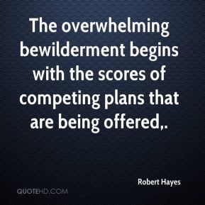 The overwhelming bewilderment begins with the scores of competing plans that are being offered.