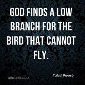 Turkish Proverb  - God finds a low branch for the bird that cannot fly.