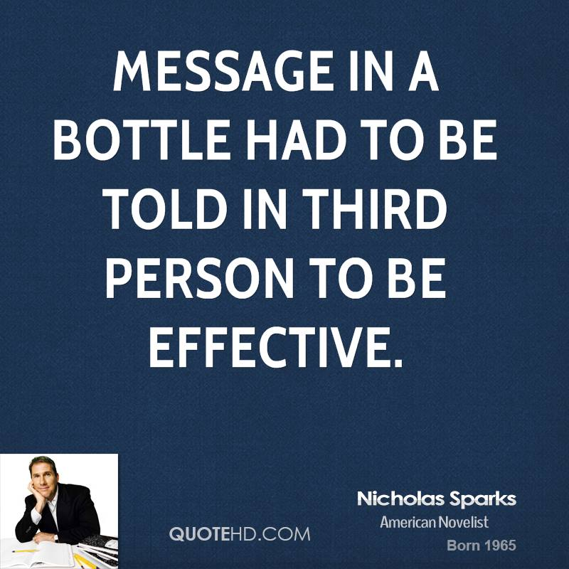 nicholas sparks message in a bottle Message in a bottle e-book winkstore was founded in 2009 with the vision of \93delivering a cost effective electronic book reader and reading content in english and all indian languages for the indian market.
