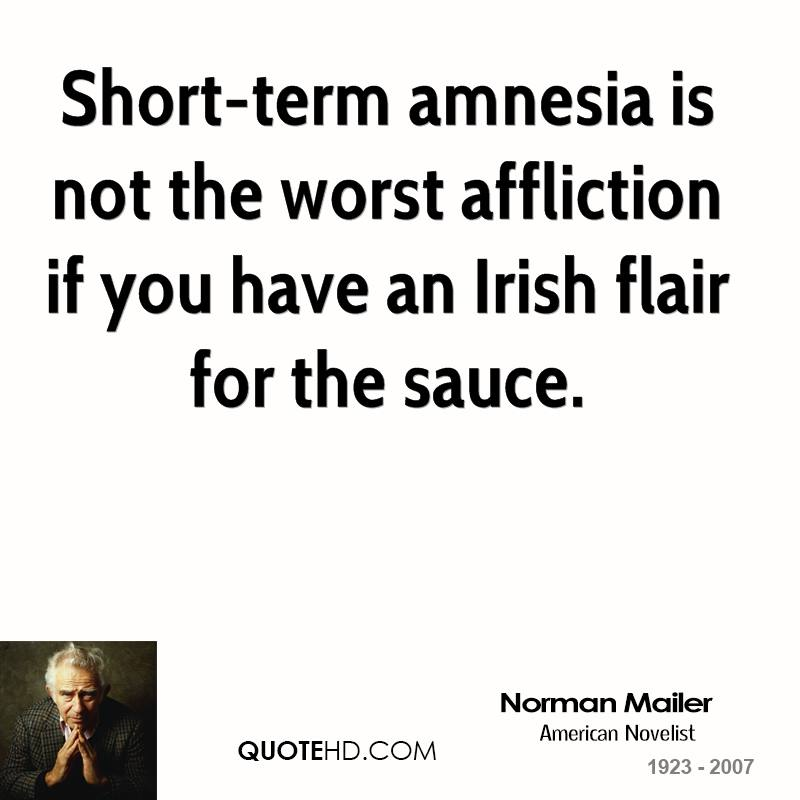 Short-term amnesia is not the worst affliction if you have an Irish flair for the sauce.