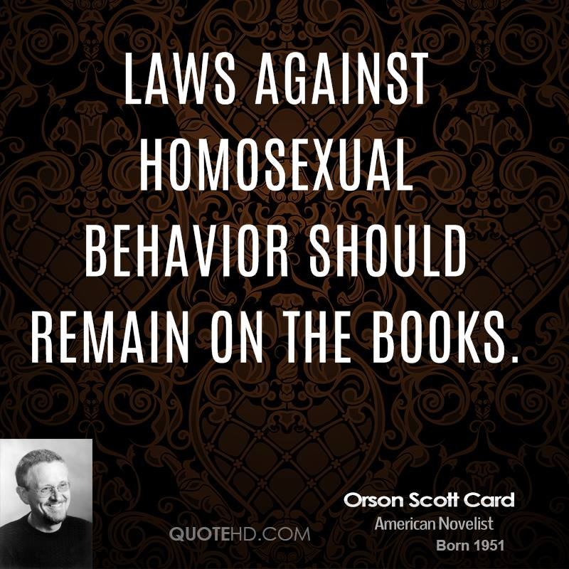 Laws against homosexual behavior should remain on the books.