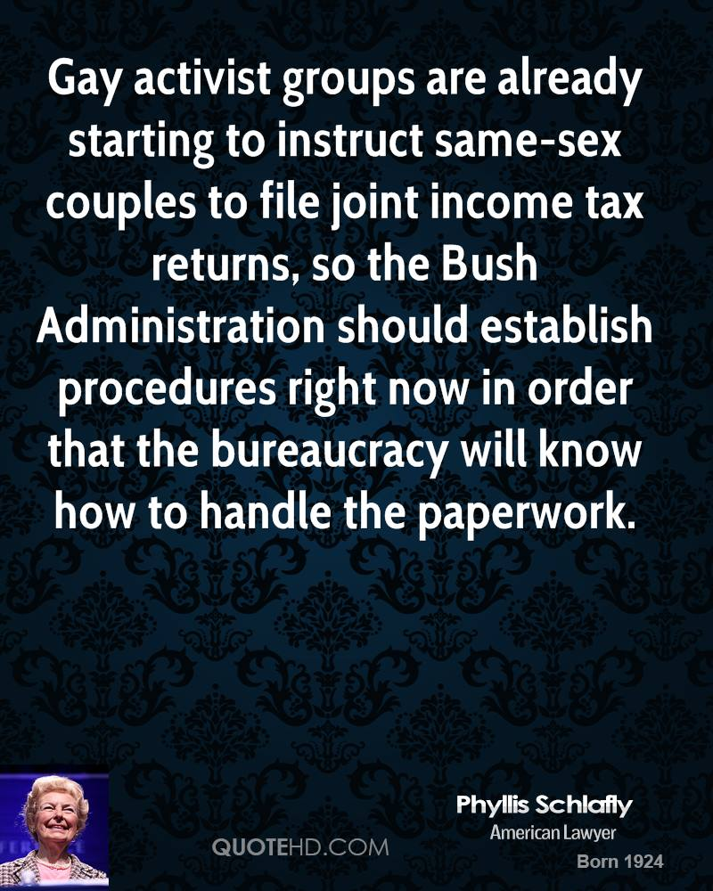 Gay activist groups are already starting to instruct same-sex couples to file joint income tax returns, so the Bush Administration should establish procedures right now in order that the bureaucracy will know how to handle the paperwork.