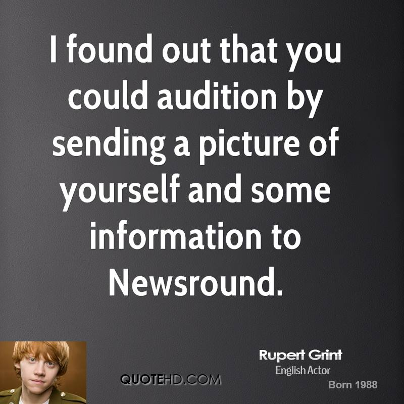 I found out that you could audition by sending a picture of yourself and some information to Newsround.
