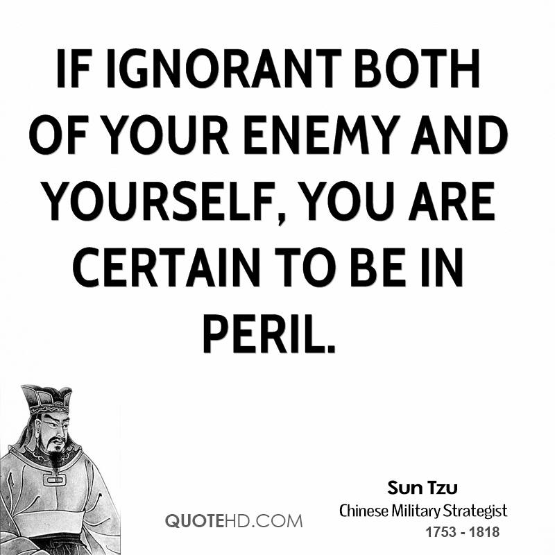 If ignorant both of your enemy and yourself, you are certain to be in peril.