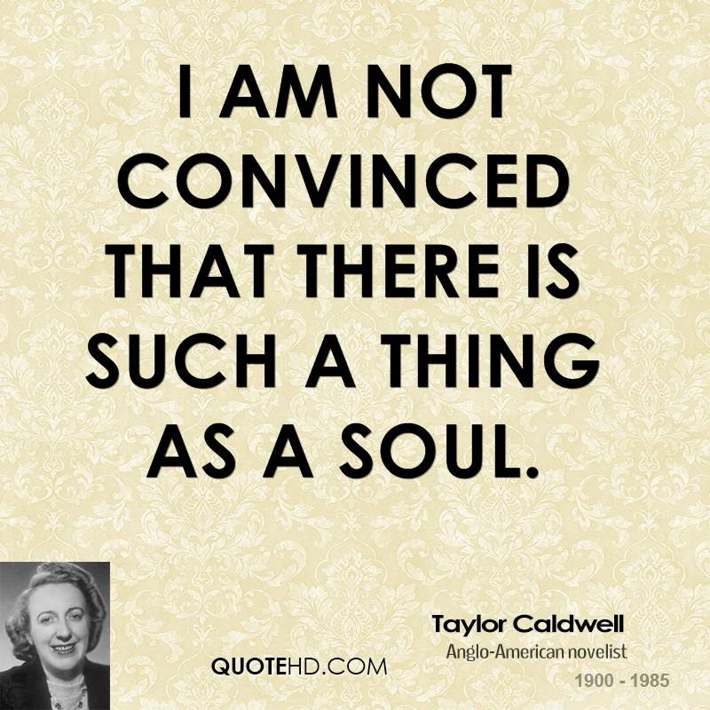 I am not convinced that there is such a thing as a soul.