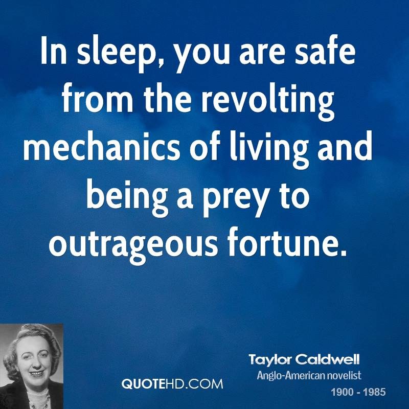 In sleep, you are safe from the revolting mechanics of living and being a prey to outrageous fortune.