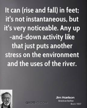 It can (rise and fall) in feet; it's not instantaneous, but it's very noticeable. Any up-and-down activity like that just puts another stress on the environment and the uses of the river.
