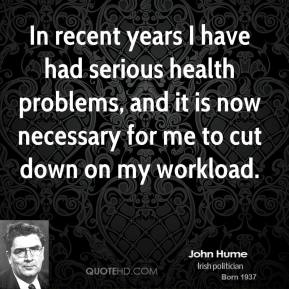 In recent years I have had serious health problems, and it is now necessary for me to cut down on my workload.
