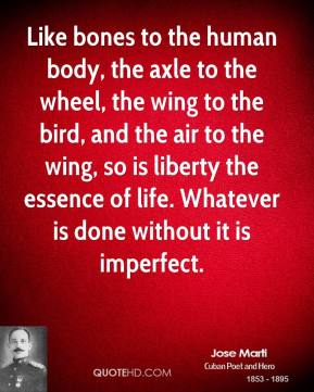Jose Marti - Like bones to the human body, the axle to the wheel, the wing to the bird, and the air to the wing, so is liberty the essence of life. Whatever is done without it is imperfect.