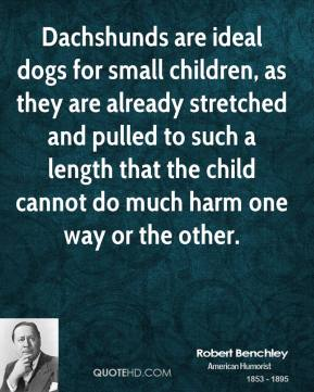 Robert Benchley - Dachshunds are ideal dogs for small children, as they are already stretched and pulled to such a length that the child cannot do much harm one way or the other.