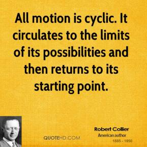 Robert Collier - All motion is cyclic. It circulates to the limits of its possibilities and then returns to its starting point.