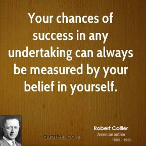 Your chances of success in any undertaking can always be measured by your belief in yourself.
