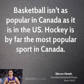 Steve Nash - Basketball isn't as popular in Canada as it is in the US. Hockey is by far the most popular sport in Canada.
