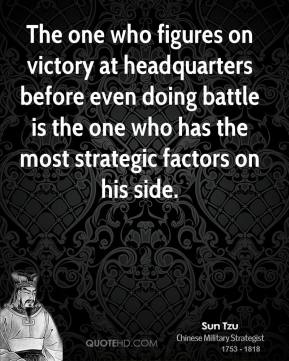 Sun Tzu  - The one who figures on victory at headquarters before even doing battle is the one who has the most strategic factors on his side.