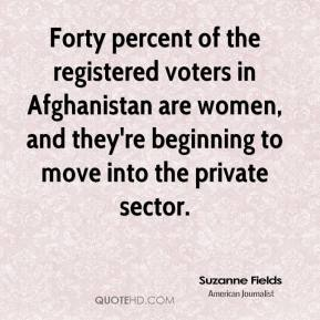 Suzanne Fields  - Forty percent of the registered voters in Afghanistan are women, and they're beginning to move into the private sector.