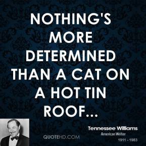 Tennessee Williams  - Nothing's more determined than a cat on a hot tin roof...