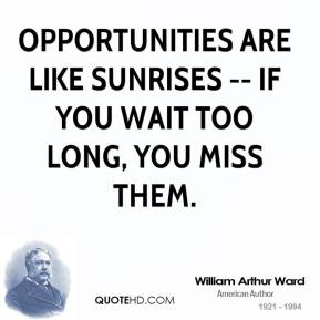 William Arthur Ward  - Opportunities are like sunrises -- if you wait too long, you miss them.