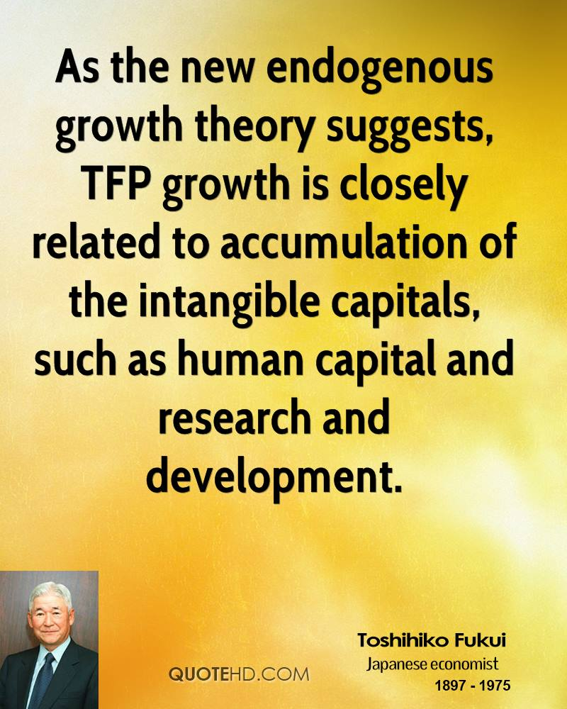 As the new endogenous growth theory suggests, TFP growth is closely related to accumulation of the intangible capitals, such as human capital and research and development.