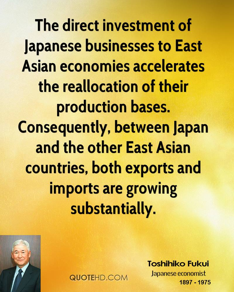 The direct investment of Japanese businesses to East Asian economies accelerates the reallocation of their production bases. Consequently, between Japan and the other East Asian countries, both exports and imports are growing substantially.