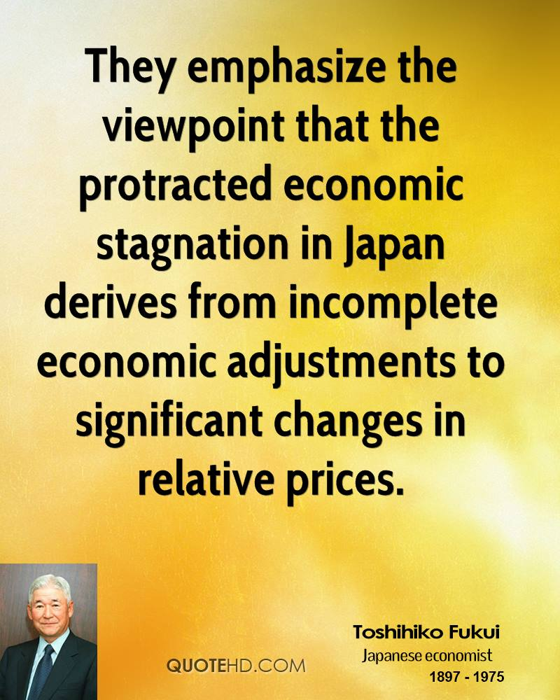 They emphasize the viewpoint that the protracted economic stagnation in Japan derives from incomplete economic adjustments to significant changes in relative prices.