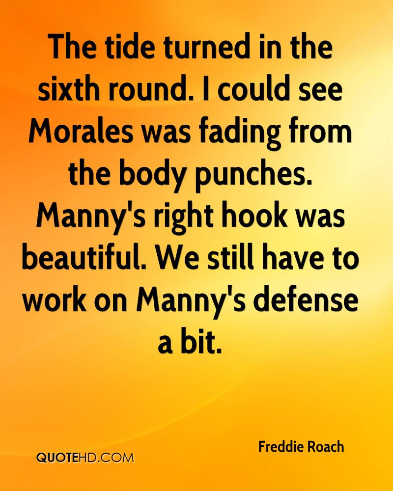 The tide turned in the sixth round. I could see Morales was fading from the body punches. Manny's right hook was beautiful. We still have to work on Manny's defense a bit.