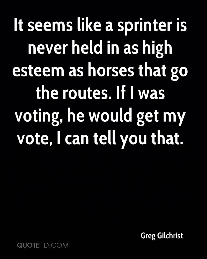It seems like a sprinter is never held in as high esteem as horses that go the routes. If I was voting, he would get my vote, I can tell you that.