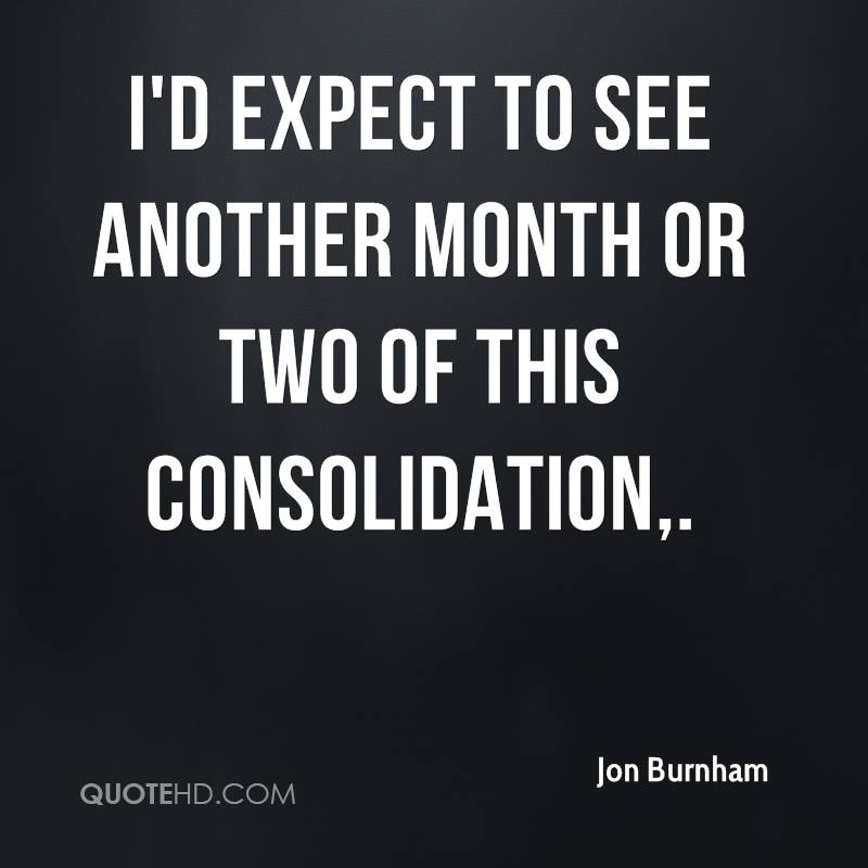I'd expect to see another month or two of this consolidation.