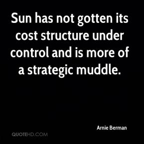 Arnie Berman - Sun has not gotten its cost structure under control and is more of a strategic muddle.