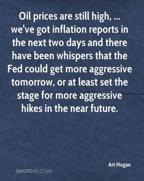 Oil prices are still high, ... we've got inflation reports in the next two days and there have been whispers that the Fed could get more aggressive tomorrow, or at least set the stage for more aggressive hikes in the near future.