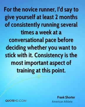 For the novice runner, I'd say to give yourself at least 2 months of consistently running several times a week at a conversational pace before deciding whether you want to stick with it. Consistency is the most important aspect of training at this point.