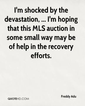 I'm shocked by the devastation, ... I'm hoping that this MLS auction in some small way may be of help in the recovery efforts.