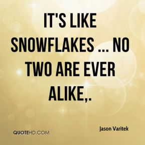 It's like snowflakes ... no two are ever alike.