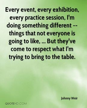 Johnny Weir  - Every event, every exhibition, every practice session, I'm doing something different -- things that not everyone is going to like, ... But they've come to respect what I'm trying to bring to the table.
