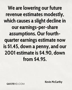 Kevin McCarthy  - We are lowering our future revenue estimates modestly, which causes a slight decline in our earnings-per-share assumptions. Our fourth-quarter earnings estimate now is $1.45, down a penny, and our 2001 estimate is $4.90, down from $4.95.