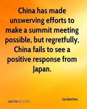 Liu Jianchao  - China has made unswerving efforts to make a summit meeting possible, but regretfully, China fails to see a positive response from Japan.